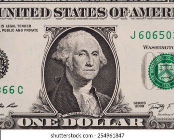 US one dollar bill closeup macro, 1 usd banknote, George Washington portrait, united states money