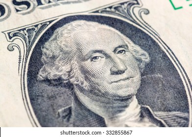 US one dollar bill closeup macro, 1 usd banknote, George Washington portrait, united states money