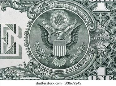 US one dollar bill closeup macro, back side