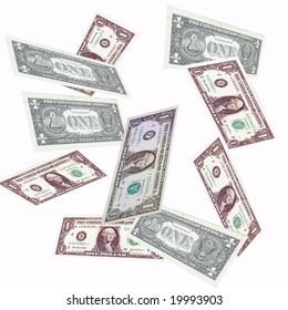 U.S. One Dollar Bills falling through the air.