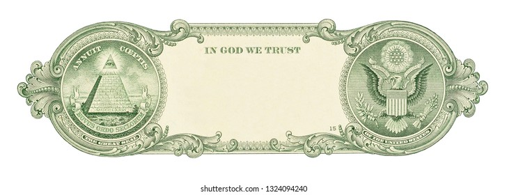 U.S. one dollar border with empty middle area. Clear one dollar reverse side banknote pattern for your picture or text.