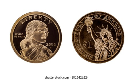 US one dollar coin - Sacagawea and Statue of Liberty. Isolated on white background
