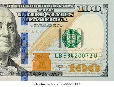 US one hundred dollar bill closeup