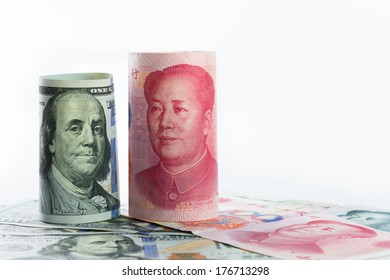 US one hundred dollar versus China Yuan currency