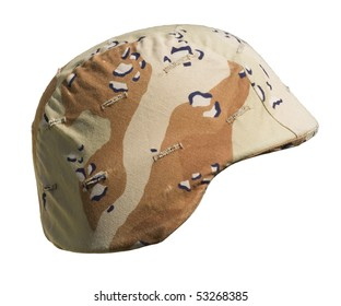 A US PASGT Kevlar helmet with a Desert Battle Dress Uniform (chocolate-chip) camouflage cover from Operation Desert Storm, 1990-91, commonly referred to as the Gulf War.