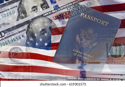 US passport, American flag and one hundred dollars. Independence Day concept.