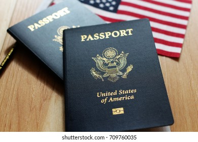 US passport American flag, wood as background