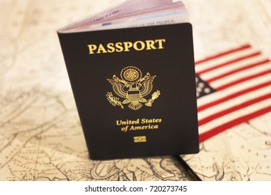 US passport, flag and map as background