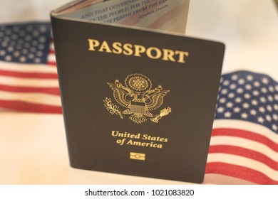 US Passport with flags as background