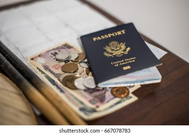 U.S. passport and Japanese currency