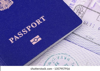 Us passport and visa stamps. Concept of homecoming