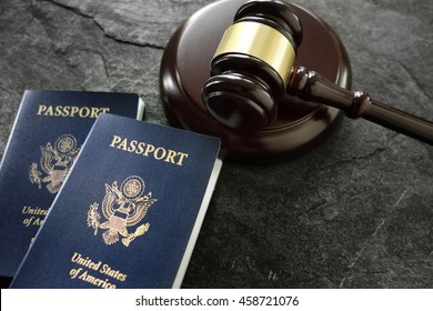US passports and judges legal gavel