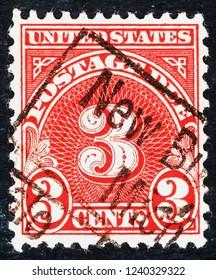 US postage stamp  circa  1930  3c  -  Postage due