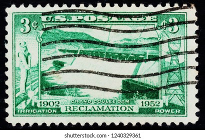 US postage stamp  circa  1952  3c  -  Grand Coulee dam  -  irrigation  reclamation  power