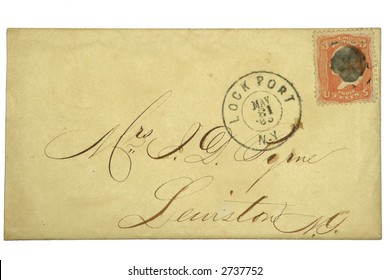 US postal envelope with 3 cent Washington stamp from 1865.