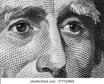US president Andrew Jackson face on USA twenty dollar bill extreme macro, 20 usd, United States money closeup.