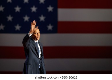 U.S. President Barack Obama acknowledges the crowd as he arrives to deliver his farewell address in Chicago, Illinois, U.S., January 10, 2017.