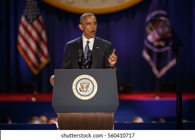 U.S. President Barack Obama delivers a farewell address at McCormick Place in Chicago, Illinois, U.S. January 10, 2017.