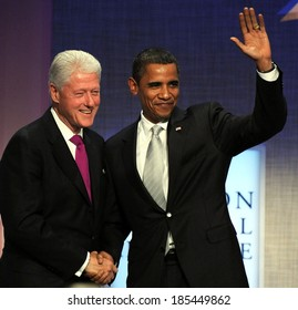 US President, Barack Obama, former US President, Bill Clinton at public appearance, 2009 Annual Meeting of Clinton Global Initiative-Opening Plenary, Sheraton Hotel and Towers, NY Sept 22, 2009