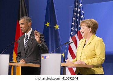 U.S. President Barack Obama and German Chancellor Angela Merkel are pictured during a news conference at the Herrenhausen Palace in Hanover, Germany on April 24, 2016.