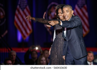 U.S. President Barack Obama and his wife Michelle acknowledge the crowd after President Obama delivered a farewell address at McCormick Place in Chicago, Illinois, U.S. January 10, 2017.