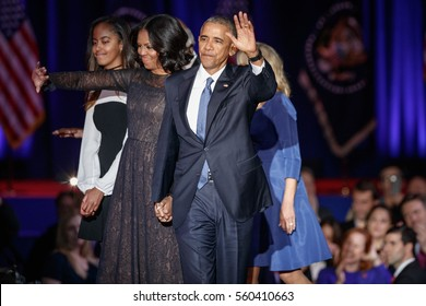 U.S. President Barack Obama his wife Michelle and their daughter Melia acknowledge the crowd after President Obama delivered a farewell address at McCormick Place in Chicago, January 10, 2017.