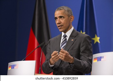 U.S. President Barack Obama is pictured during a news conference held with German Chancellor Angela Merkel at the Herrenhausen Palace in Hanover, Germany on April 24, 2016.