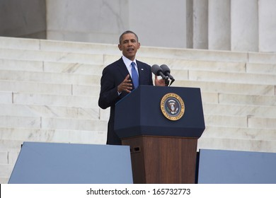 U.S. President Barack Obama speaks during the Let Freedom Ring ceremony at the Lincoln Memorial August 28, 2013 in Washington, DC, the 50th anniversary of Dr. Martin Luther King speech.