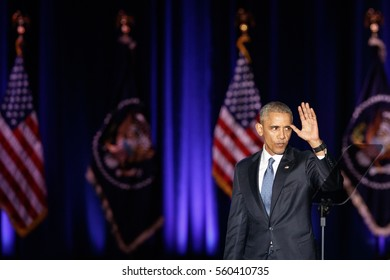 U.S. President Barack Obama waves after delivering a farewell address at McCormick Place in Chicago, Illinois, U.S. January 10, 2017.