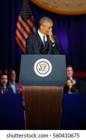 U.S. President Barack Obama wipes away a tear as he delivers a farewell address at McCormick Place in Chicago, Illinois, U.S. January 10, 2017.