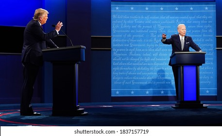 US President Donald J. Trump and Democratic presidential candidate Joe Biden participate in the first presidential election debate at Samson Pavilion in Cleveland, Ohio, USA, 29 September 2020