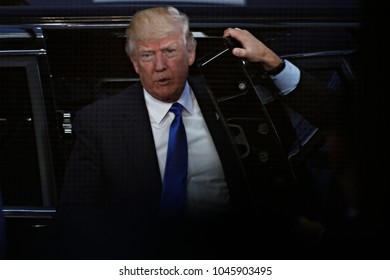 US President Donald Trump arrives at the European Council building in Brussels, Belgium, on May 25, 2017.