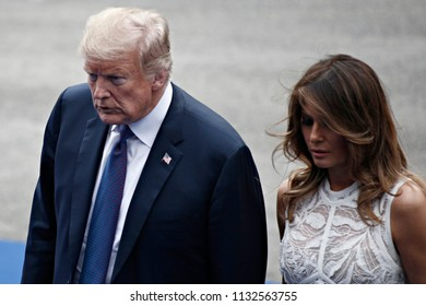 US President Donald Trump and First Lady of the US Melania Trump arrive for a working dinner at The Parc du Cinquantenaire in Brussels, Belgium on Jul. 11, 2018.