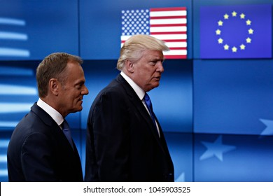 US President Donald Trump meets with Donald Tusk President of the European Council at the European Council building in Brussels, Belgium, on May 25, 2017.