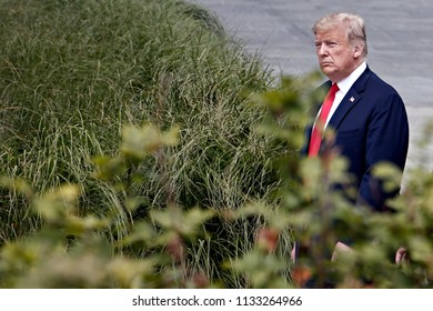 US President Donald Trump pictured during the opening ceremony of the summit of the NATO military alliance, on July 11, 2018, in Brussels, Belgium.