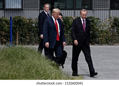 US President Donald Trump and President of Turkey Recep Tayyip Erdogan pictured during the opening ceremony of the summit of the NATO military alliance on July 11, 2018, in Brussels, Belgium
