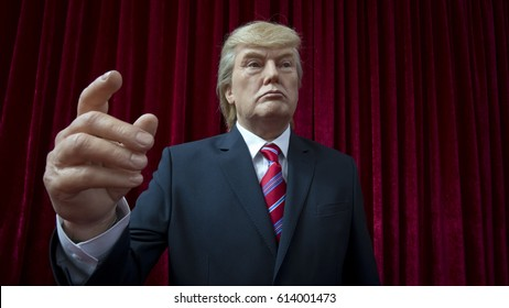 US President Donald Trump wax statue is displayed in an exposition in Sofia, Bulgaria, April 1, 2017.