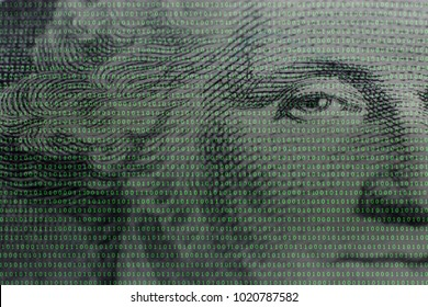 US president George Washington face portrait on the USA one dollar banknote among binary code background,concept of crypto currency