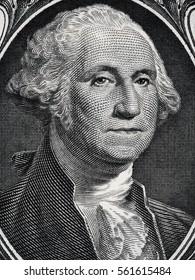US president George Washington face portrait on the USA one dollar bill macro, united states money closeup.