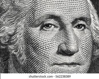US president George Washington face portrait on the USA one dollar bill macro, united states money closeup.