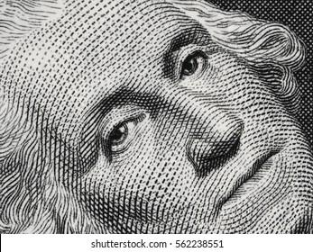US president George Washington face portrait on the USA one dollar bill extreme macro, united states money closeup.
