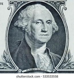 US president George Washington portrait on the one dollar bill macro