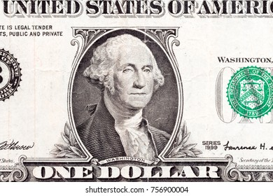US president George Washington portrait on the one dollar fragment