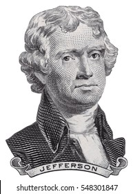 US President Thomas Jefferson face on USA two dollar bill macro isolated, United States of America money closeup