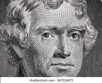 US President Thomas Jefferson portrait on us two dollar bill macro, united states money closeup
