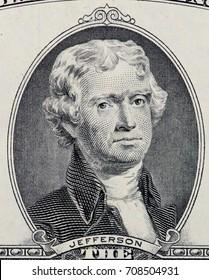 US President Thomas Jefferson portrait on two dollar bill, macro. United States money close-up