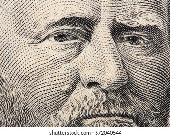 US president Ulysses Grant portrait on fifty dollar bill extreme macro, 50 usd, united states money closeup