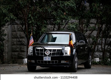 The US presidential limousine, known as 'the beast' outside in the Parc du Cinquantenaire during a working dinner of NATO members in Brussels, Belgium on Jul. 11, 2018.