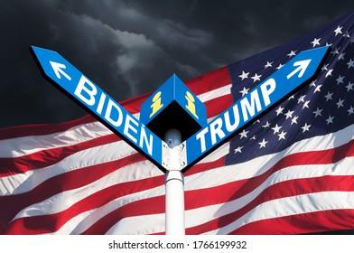 US-Präsidentschaftswahlkampf. Die Namen der Präsidenten Donald Trump und Joe Biden auf der Straße, auf dem Schild auf dem Hintergrund der amerikanischen Flagge und einem stürmischen Himmel
