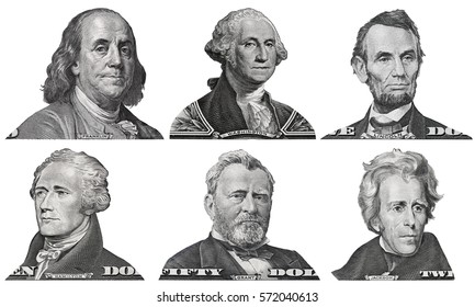 US presidents George Washington, Benjamin Franklin, Abraham Lincoln, Alexander Hamilton, Andrew Jackson, Ulysses Grant portraits from US dollar bills isolated, United States  money closeup
